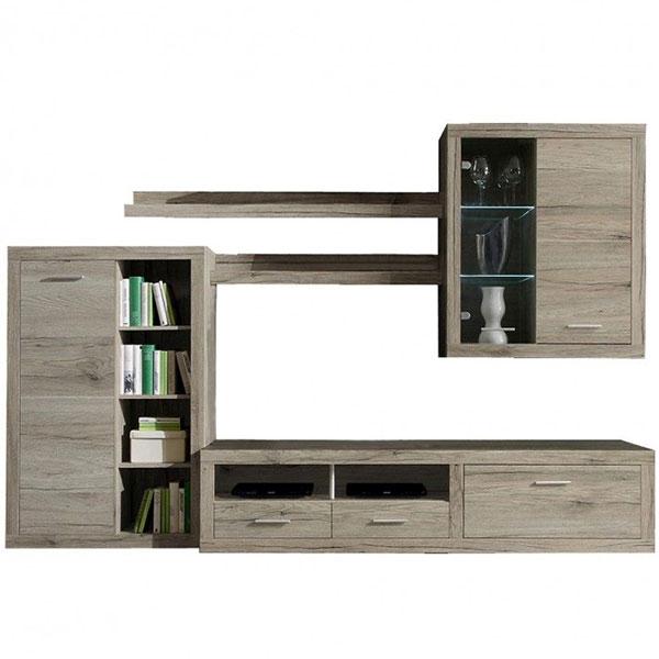 Mobila Biblioteca Living Cancan cu finisaj Stejar San Remo