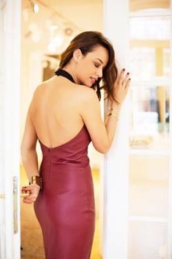 Rochie Rosie din piele cu spatele gol