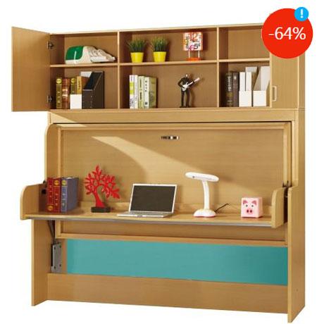 Dormitor ingenios pentru copii Pat transformabil in birou cu dulapior Kring Shift