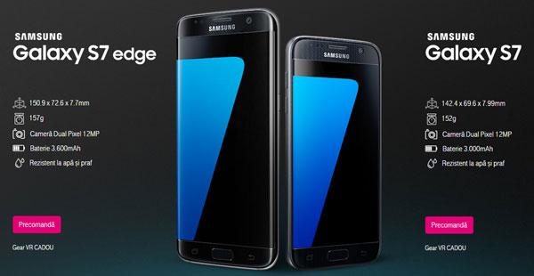 Oferta de preturi si promotii precomanda Samsung Galaxy S7 si Samsung Galaxy S7 Edge la abonament sau la liber telekom orange vodafone emag altex quickmobile