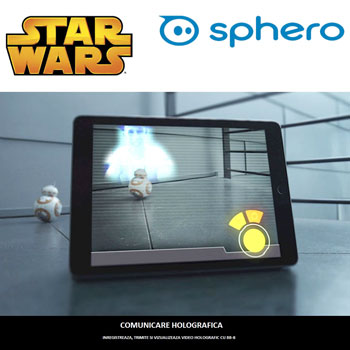 Robotul de jucarie Sphero Droid BB-8 Star Wars cu inregistrare holografica