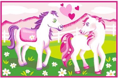 Covoare fetite - Covor de camera cu ponei roz