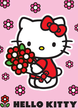 Covor Hello Kitty fetite Red Flower la elefant