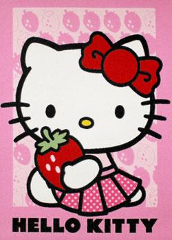 Covor roz pentru fetite Hello Kitty Strawberry