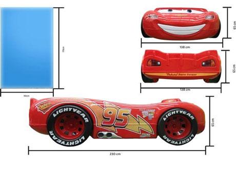 Pat copii in forma de masina Fulger McQueen