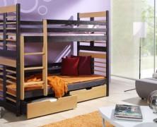 Pat etajat din lemn masiv Aron pentru copii si adolescenti
