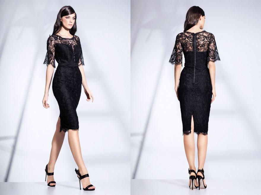 Rochie de cocktail conica cu maneci din dantela neagra Chantilly Cristallini Dresses