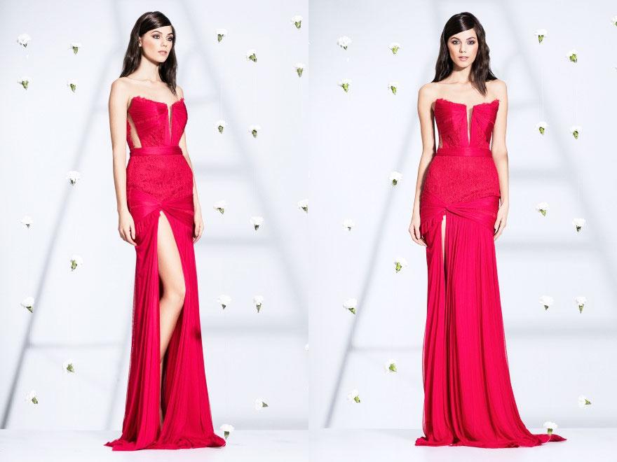 Rochie rosie de seara lunga cu fronseuri din tul de matase si dantela Chantilly Cristallini