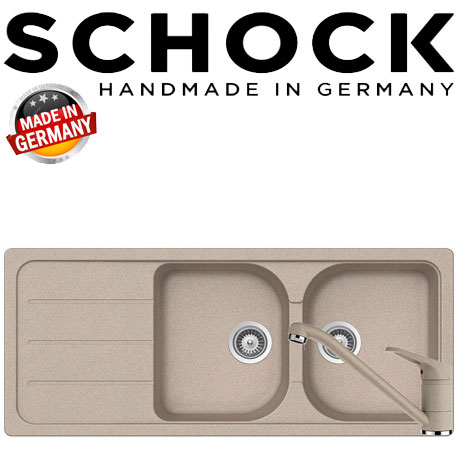 Kit chiuveta dubla din granit Schock Formhaus D-200 si baterie Schock Cosmo Sabbia