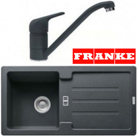 Pachet Franke chiuveta fragranite STG 614-86 reversibila, Grafite + baterie Bahia Grafite