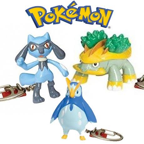 Breloc tip figurina Pokemon Basic Fun cu personajele Grotle, Riolu si Prinplup