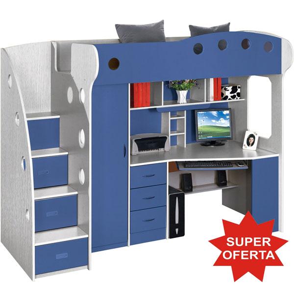 Dormitor copii multifunctional Kring Kul, pat supraetajat, dulapuri, birou - albastru baieti