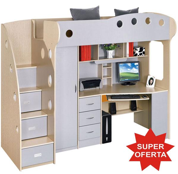 Dormitor copii multifunctional Kring Kul, pat supraetajat, dulapuri, birou gri