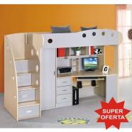 [SALE] KRING KUL Dormitor multifunctional pat supraetajat, birou si dulap pentru copii