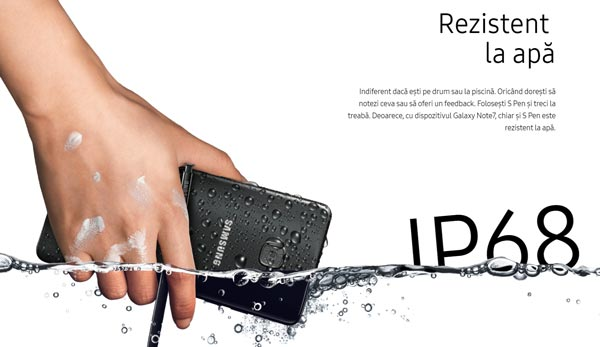 Samsung Galaxy Note7 Smartphone Waterproof IP68 - Rezistenta sporita la apa