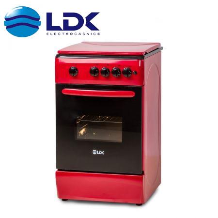 Aragaz LDK 5060 A RED, Gaz, 4 arzatoare culoare rosie