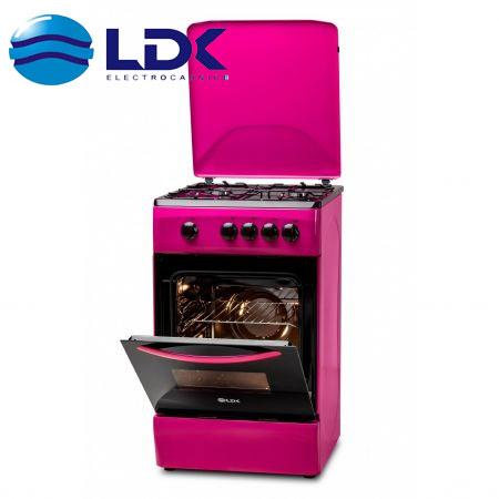 Aragaz LDK 5060 PURPLE, 4 arzatoare Gaz, culoare roz