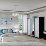 Set complet Dormitor Georgia Confort cu pat tapitat, noptiere, comoda si dulap spatios