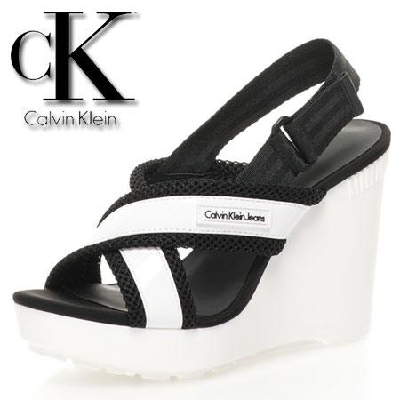 Calvin Klein Jeans Platforme alb cu negru Lizzie