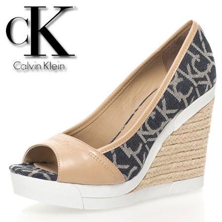 Calvin Klein Jeans Platforme bej cu bleumarin Electra