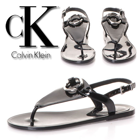 Calvin Klein Sandale casual negre lacuite Josephine