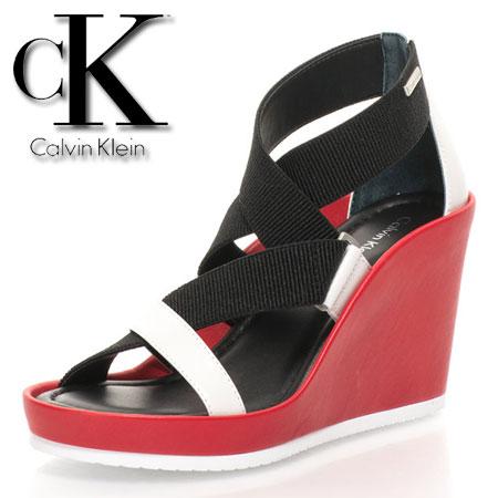 Calvin Klein Sandale rosii cu platforma si benzi elastice