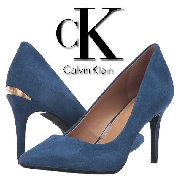 Pantofi cu toc Calvin Klein Gayle Blue Suede