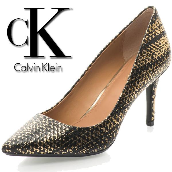 Pantofi din piele cu toc inalt si varf ascutit Calvin Klein pentru femei