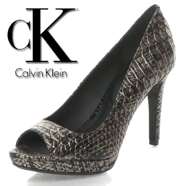 Pantofi negru cu argintiu de piele cu model sarpe Pollina Calvin Klein