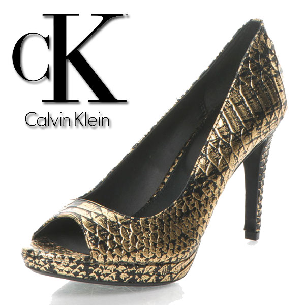 Pantofi negru cu auriu de piele cu model sarpe Pollina.
