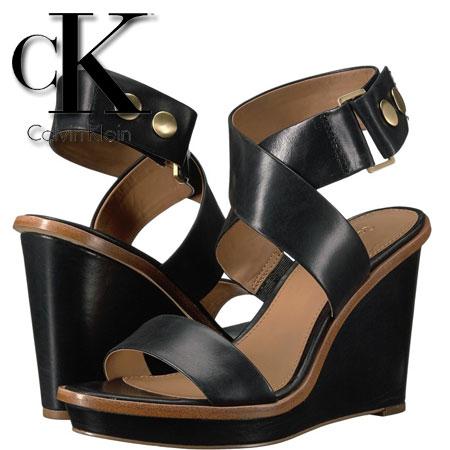 Platforme Calvin Klein Pernina din piele neagra