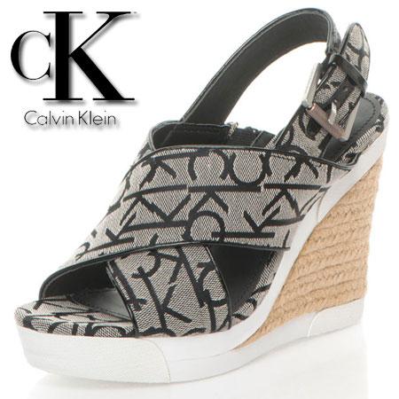 Platforme Calvin Klein negru cu alb cu logo CK Elaine