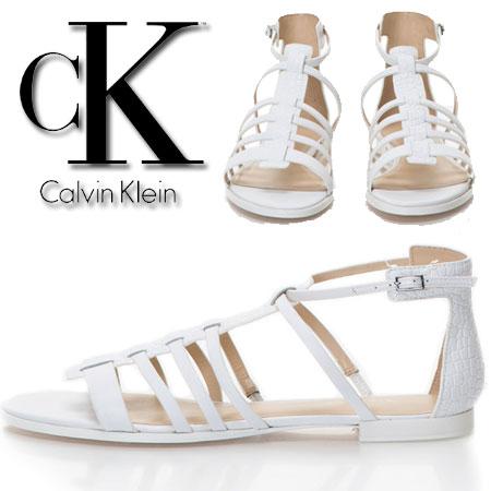Sandale CK gladiator albe din piele Samantha