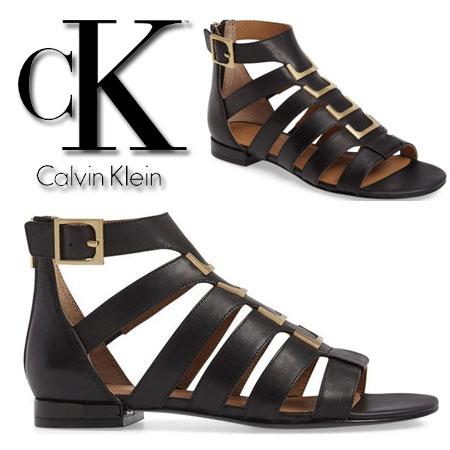 Sandale Calvin Klein Estes Gladiator Sandały E4545 Black Femei
