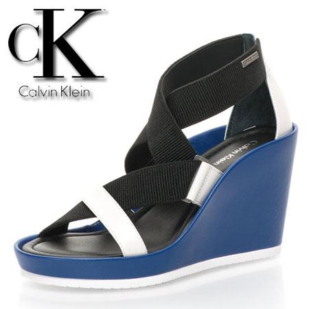 Sandale cu platforma si benzi elastice Calvin Klein albastre