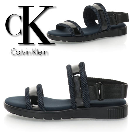 Sandale slingback lacuite bleumarin cu negru Magic Calvin Klein