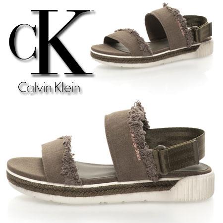 Sandale slingback verde militar Muriel Calvin Klein
