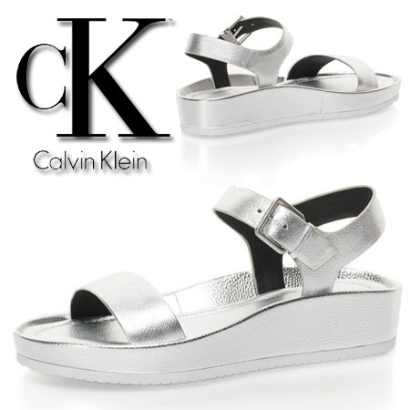 Sandale wedge argintii Helenah Calvin Klein