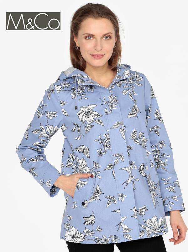 Jacheta scurta de ploaie albastra cu gluga si buzunare- M&Co