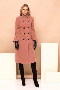 Palton PrettyGirl roz prafuit lung de ocazie